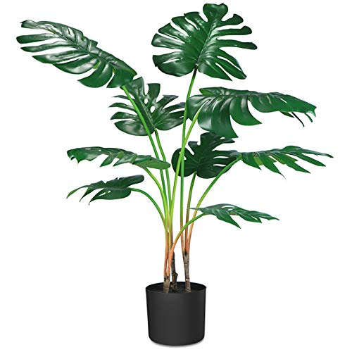 CROSOFMI Kunstpflanze Plastik Monstera Künstliche Pflanze Palme...