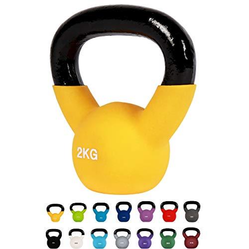 MSPORTS Kettlebell Neopren 2 – 30 kg inkl. Übungsposter (6 Kg...