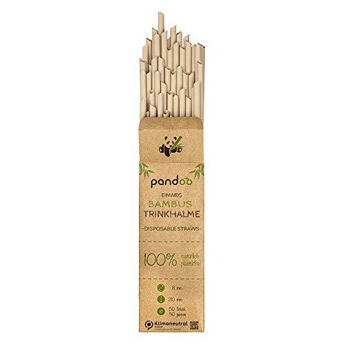 pandoo 50 Plastikfreie Einweg-Strohhalme aus Bambus und...