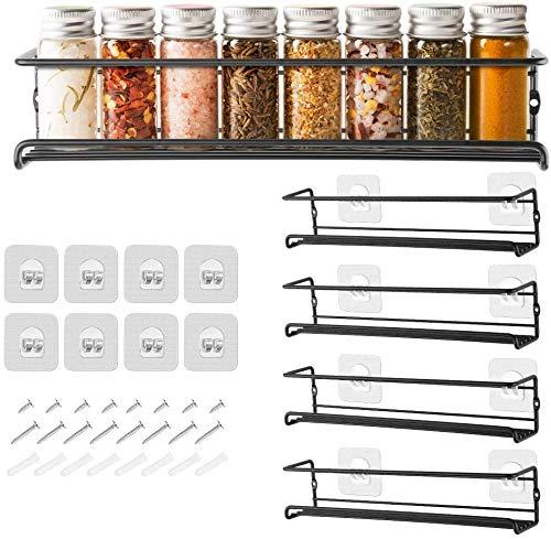 GEEDIAR Gewürzregal aus Metall - 4er hängend lang Küchenregal...