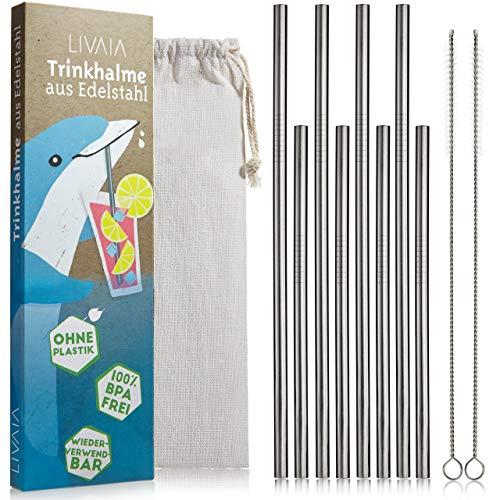 LIVAIA Edelstahl Strohhalm Set: 8X Nachhaltiger Metall Strohhalm...