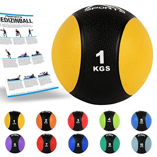 MSPORTS Medizinball 1 kg – Professionelle Studio-Qualität...